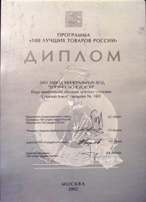 """Диплом за """"Горячий Ключ-1481"""""""